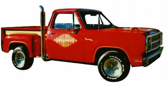 Front Right Red Dodge Lil Red Express Truck Picture