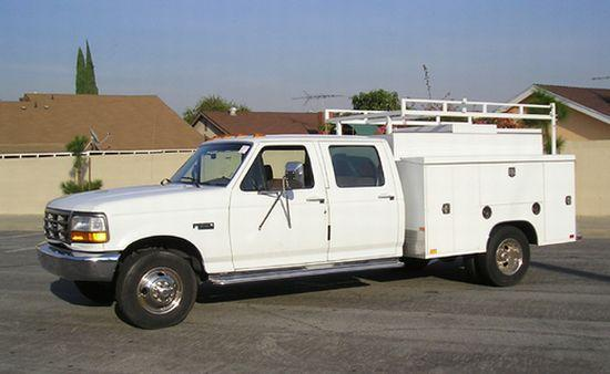 Ford F350 Truck. Left Side White 1994 Ford F350