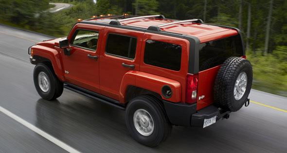 Rear Left Red 2008 Hummer H3 Truck Picture