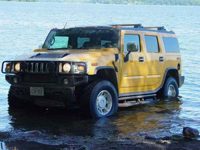 Front Left Yellow 1992 Hummer H2 Truck Picture