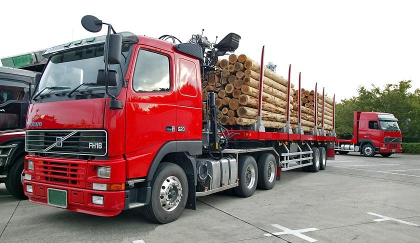 Left Front Red 2009 Volvo FH16 Lumber Truck Picture