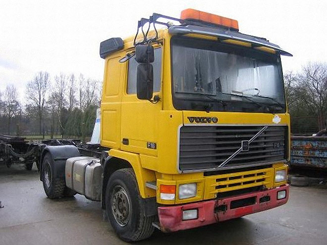 Front Right Yellow 1991 Volvo F16 Truck Picture